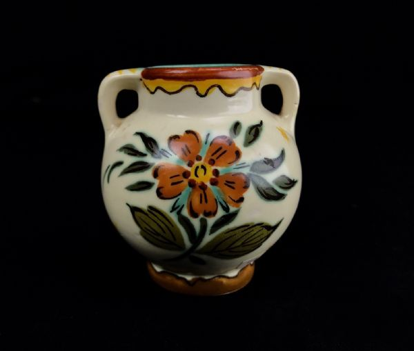 Gouda Pottery Vase / Pot / Double Handled 1950's Vintage / Cream / Yellow